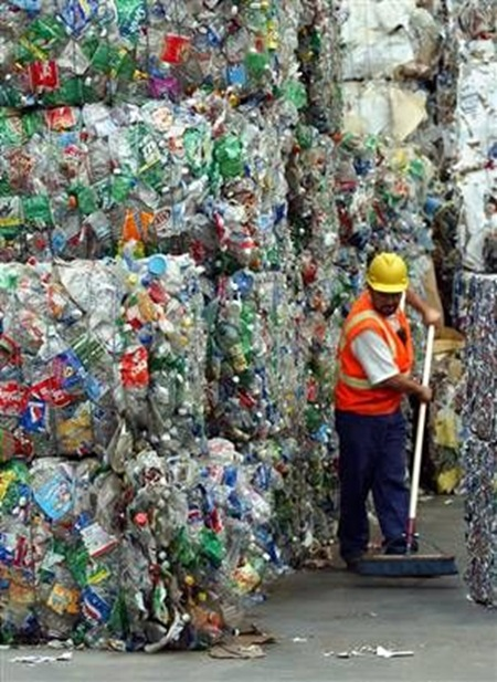 bottled water on way to landfill