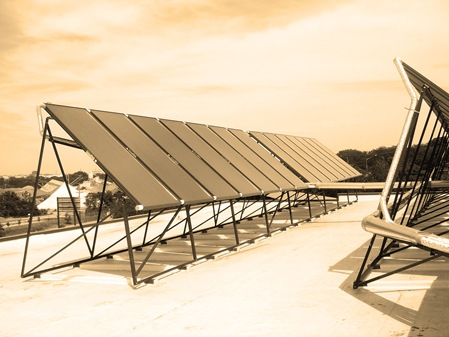 View of the (28) 4'x10' solar thermal collectors