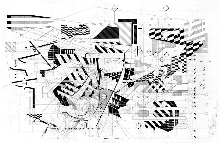 Microcosmic Tarmac - Ink & Graphite on Vellum