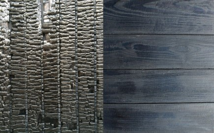Charred wood from original house and Shou Sugi Ban siding.-Slate House