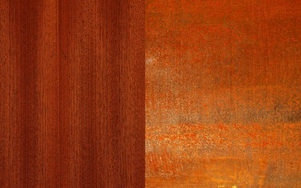 Mahogany wood and weathered steel material swatches.-Slate House
